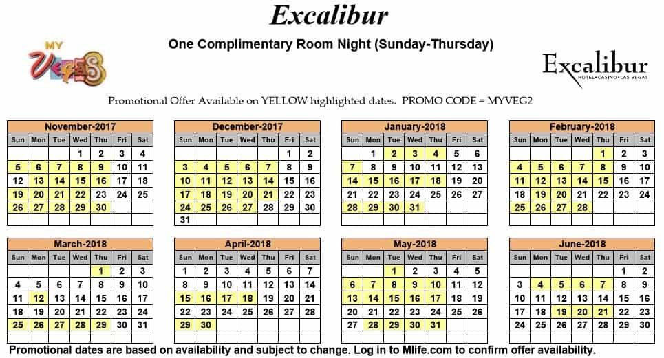 Image of Excalibur Hotel & Casino Las Vegas one complimentary room night myVEGAS Slots calendar.