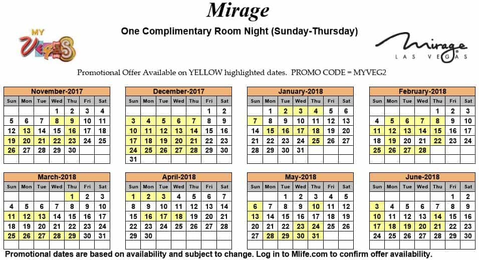 Image of Mirage Hotel & Casino Las Vegas one complimentary room night myVEGAS Slots calendar.