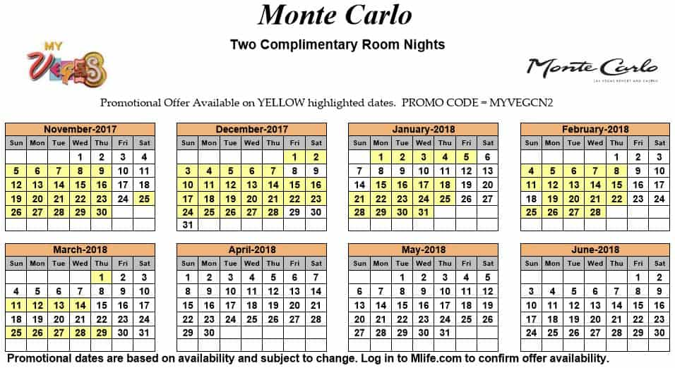 Image of Monte Carlo Resort & Casino Las Vegas two complimentary room nights myVEGAS Slots calendar.
