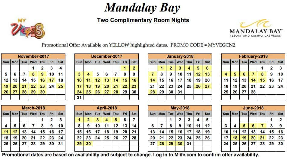 Image of Mandalay Bay Resort & Casino Las Vegas two complimentary room nights myVEGAS Slots calendar.