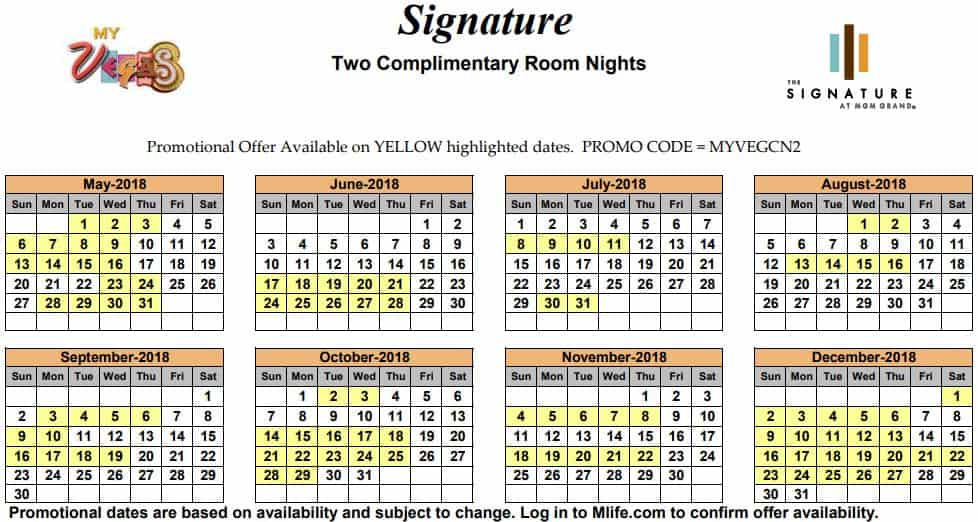 Image of Signature at MGM Grand Hotel Las Vegas two complimentary room nights myVEGAS Slots calendar.