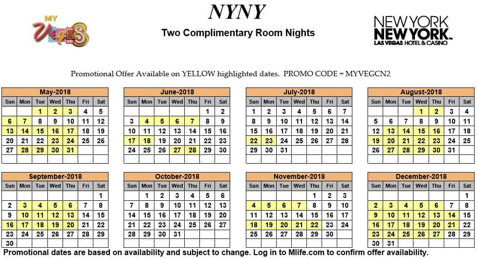 Image of New York New York Hotel & Casino Las Vegas two complimentary room nights myVEGAS Slots calendar 2018.
