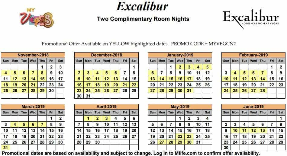 Image of Excalibur Hotel & Casino Las Vegas two complimentary room nights myVEGAS Slots calendar 2019.