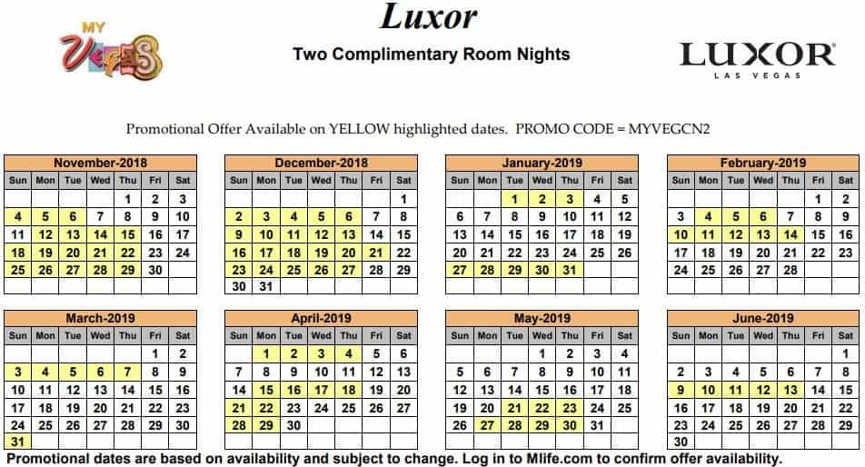 Image of Luxor Resort & Casino Las Vegas two complimentary room nights myVEGAS Slots calendar 2019.