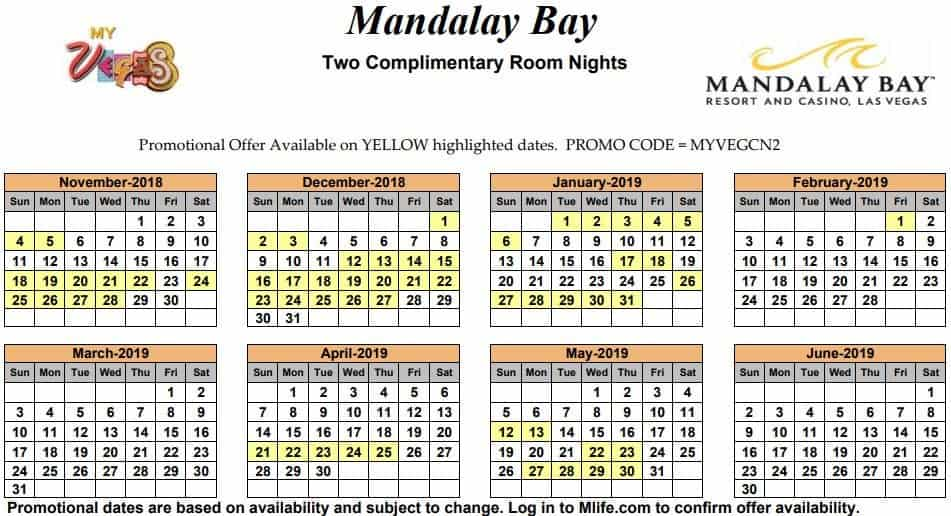 Image of Mandalay Bay Resort & Casino Las Vegas two complimentary room nights myVEGAS Slots calendar 2019.