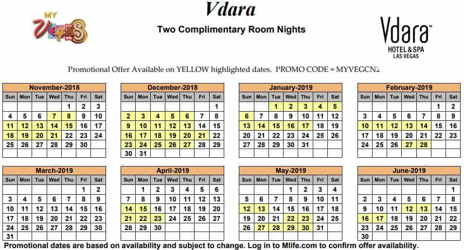 Image of Vdara Hotel & Spa Las Vegas two complimentary room nights myVEGAS Slots calendar 2019.