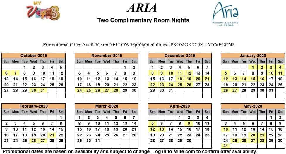 Image of Aria Hotel & Casino Las Vegas two complimentary room nights myVEGAS Slots calendar 2019.