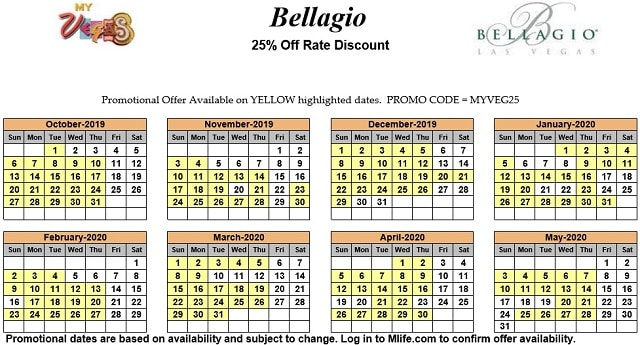 Image of Bellagio Resort & Casino Las Vegas 25% off room rates myVEGAS Slots calendar 2020.