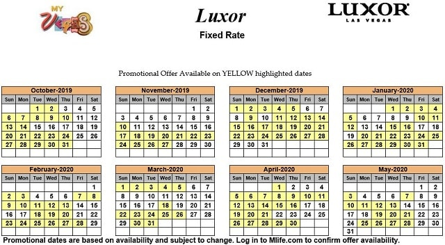 Image of Luxor Resort & Casino Las Vegas exclusive rates myVEGAS Slots calendar 2019.