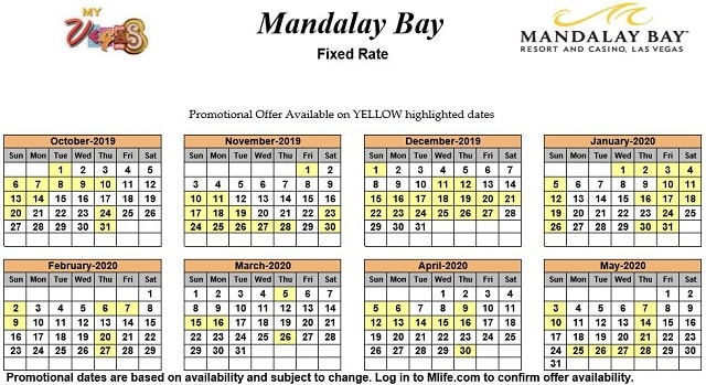 Image of Mandalay Bay Hotel & Spa Las Vegas 25% off room rates myVEGAS Slots calendar.