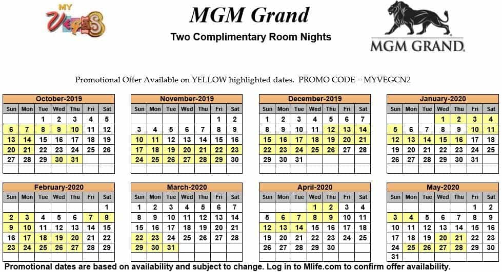 Image of MGM Grand Hotel & Casino Las Vegas two complimentary room nights myVEGAS Slots calendar 2019.