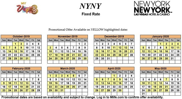 Image of New York New York Hotel & Casino Las Vegas exclusive rates myVEGAS Slots calendar 2019.