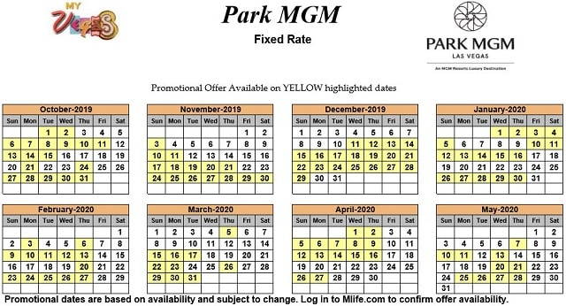 Image of Park MGM Resort & Casino Las Vegas exclusive rates myVEGAS Slots calendar.