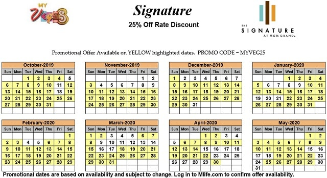 Image of Signature at MGM Grand All-Suite Hotel Las Vegas 25% off room rates myVEGAS Slots calendar.