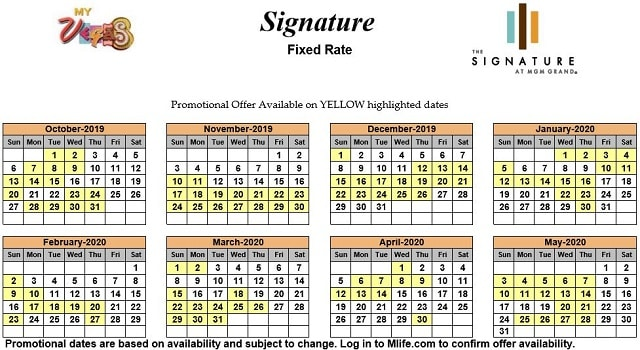 Image of Signature at MGM Grand All-Suite Hotel Las Vegas exclusive rates myVEGAS Slots calendar 2019.